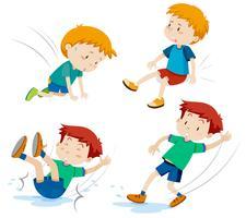 Jungen mit verschiedenen Arten von Unfällen vektor