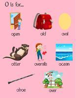 Många ord börjar med bokstaven O vektor