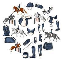 Großes Set an Ausrüstung für den Reiter und Munition für den Reiter auf Pferdeillustration im Cartoon-Stil vektor