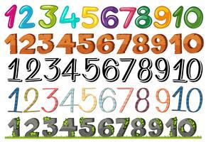 Eine Reihe von Zahlen und Schriftarten vektor