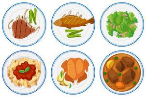 Olika typer av mat på tallrikarna vektor