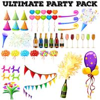 Ultimate party pack med många ornament vektor