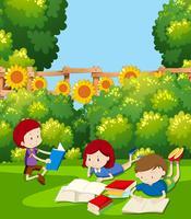 Barn som läser i en park vektor