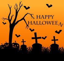 Glad halloween kort med kyrkogård i bakgrunden vektor