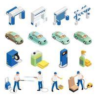 Autowaschanlagen Icons Set Vector Illustration