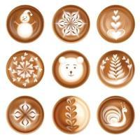 Latte Art Bilder realistische Set-Vektor-Illustration vektor