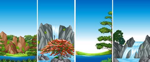 Vier Hintergrundszenen mit Wasserfall und Fluss vektor