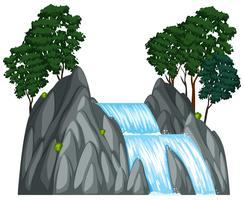 Vattenfall med två träd på berget