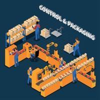 isometrische zusammensetzungsvektorillustration der verpackungsfabrik vektor