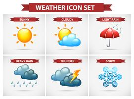 Wetterikone eingestellt mit vielen Wetterbedingungen vektor