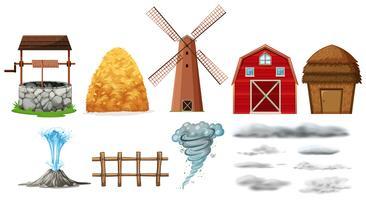 Satz Bauernhofelemente und Wetter vektor