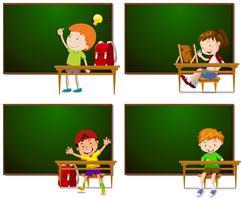 Rahmen mit Jungen und Mädchen vektor
