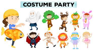 Barnen bär olika partydräkter vektor