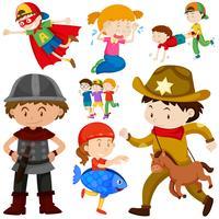 Kinder in verschiedenen Kostümen vektor