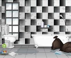 Schmutzig mit Müll Badezimmer Szene