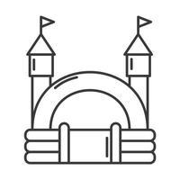 Hüpfburg-Umriss-Symbol. springendes Haus auf Kinderspielplatz. Vektor-Illustration. vektor