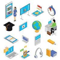 Online-Bildung Icons Set Vector Illustration
