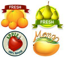 Etikettdesign med ord och färska frukter vektor