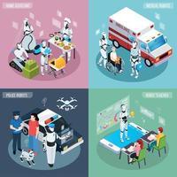 Roboter isometrische Berufe Icon Set Vector Illustration
