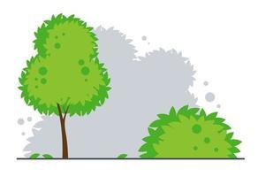 Landschaft mit Baum und Busch. Park- oder Waldhintergrund. Vektor