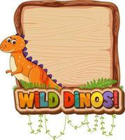 leere Brettschablone mit niedlicher Dinosaurierzeichentrickfilm-figur cartoon vektor