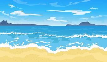 Sommerstrand. Paradiesnatururlaub mit schönem Ozean- oder Meeresküstenhintergrund. Küstenlandschaft Vektor-Illustration vektor