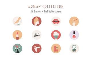 Instagram hebt Cover, Beiträge und Stories für Social Media hervor. Schönheitssymbole. Vektor-Illustration vektor