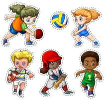 Kinder, die verschiedene Sportarten spielen vektor