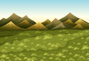 Hintergrundszene mit Feld und Bergen