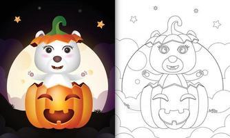 Malbuch mit einem süßen Eisbären im Halloween-Kürbis vektor