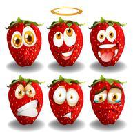 Set von Erdbeeren Emoticon vektor