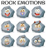 Rock mit verschiedenen Gesichtsausdrücken vektor