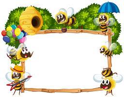 Gränsmall med bin som flyger vektor
