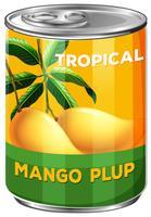 Kann aus tropischem Mango-Fruchtfleisch vektor