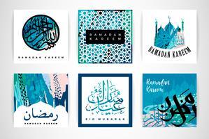 Set av abstrakta kreativa kort. Ramadan Kareem. vektor