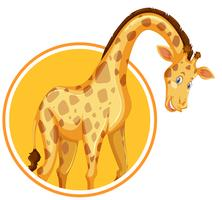 Eine Giraffen-Aufkleber-Vorlage vektor