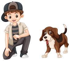 Liten pojke och söt beaglehund
