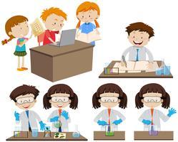 Studenten, die im Labor und am Computer arbeiten vektor