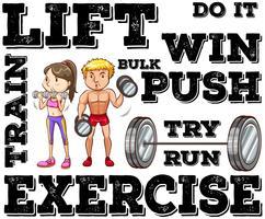 Mann und Frau, die Gewichtheben tun vektor