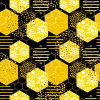 Seamless geometrisk mönster med bi. Modern abstrakt honungsdesign. vektor