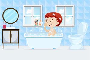 En pojke som tar ett bad vektor