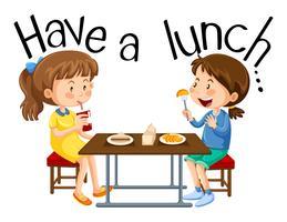 Mädchen essen zu Mittag vektor
