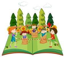 En popupbok med barn som hoppar på säck
