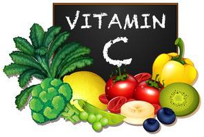 En uppsättning av vitamin C frukt och grönsaker