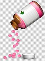 Eine Reihe von rosa Pillen