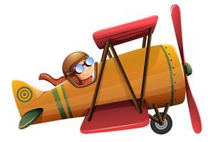 Ein Mann fährt klassische Flugzeuge vektor