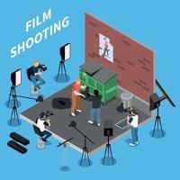 isometrische Hintergrundvektorillustration für Filmaufnahmen vektor