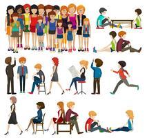 Eine Reihe von Personen und Aktivitäten vektor
