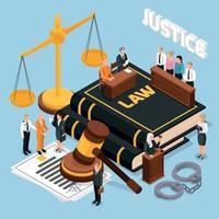 Gesetz Gerechtigkeit isometrische Zusammensetzung Vektor-Illustration vektor