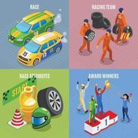 Rennsportkonzept Icons Set Vector Illustration